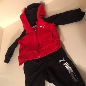 Puma Baby Red Black Pants and Hoodie 0-3 Months